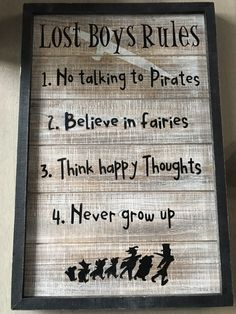 This DIY Lost Boys Rules Sign is super fun and easy, and adds a great decor item to any little boy's room! Disney Baby Nurseries, Disney Nursery, Baby Boy Nurseries, Lost Boys Tattoo, Lost Boys Peter Pan, Cool Dorm Rooms, Kids Rooms, Peter Pan Art, Neverland Nursery