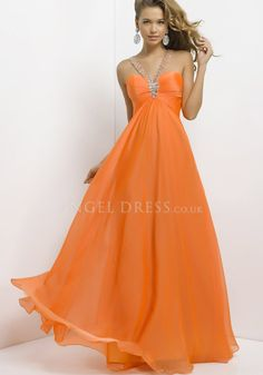 Halter A line Floor Length Open Back Chiffon Sweep/ Brush Train Prom Dresses With Beading