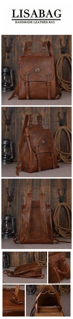 Handcrafted Full Grain Leather Travel Backpack Unisex Leather Rucksack Original Design Backpack 9036