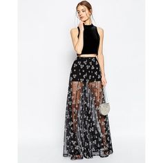 ASOS Sheer Maxi Skirt with Flocked Flowers (245 PEN) ❤ liked on Polyvore featuring skirts, black, see through skirt, flower maxi skirt, mini skirt, asos maxi skirt and transparent skirt