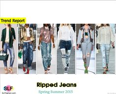 Ripped Jeans. Trendy Style of Denim for Spring Summer 2015:DistressedDenim.Bally, Dsquared², Ashish, Hood By Air,Au Jour Le Jour, and Roberto Cavalli #Spring2015 #SS15 #Fashion