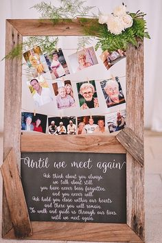 Remember lost loved ones at your wedding with a photo display and poem | Popcorn Photography via The Wedding Playbook #weddingdecoration