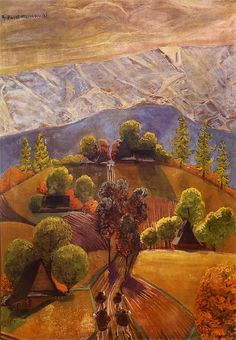 blastedheath: Rafał Malczewski (Polish, Autumn in Podhale, c. Oil on cardboard. Landscape Art, Poland, Sculptures, Display, Architecture, Drawings, Creative, Prints, Landscapes