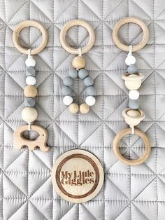 x3 Baby's Wooden & Silicone Play Gym Toys / Pram Toys /