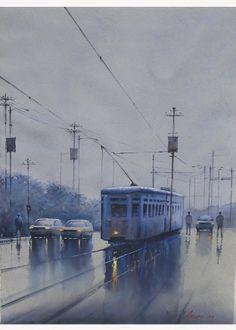 #Artflute #NoMoreEmpryWalls #HomeDecor #Watercolor #Painting #Travel #City #Art #Transport #100%AcidFreeRegPaper #Vehicles #Tram