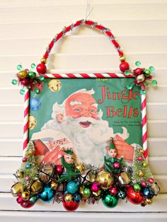 Vintage CUTE Reocrd Cover Christmas Wall by dimestorechic on Etsy Vintage Christmas Crafts, Retro Christmas Decorations, Christmas Craft Projects, Antique Christmas, Christmas Art, Handmade Christmas, Holiday Crafts, Christmas Holidays, Christmas Ideas
