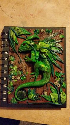 Forest Dragon polymer clay journal cover by KatiesPolymerClay