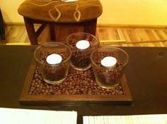 Ramka na obrazek + ziarna kawy = świecznik