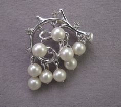 Crown Trifari Silver Tone and Dangling Pearl Pin 1960s by thejeweledbear on Etsy