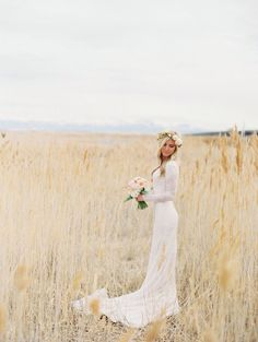 Long sleeve wedding dress. 2015 wedding trends. Lace long sleeve dress. Spring wedding. Floral crown. Bridal photography. Bridal flower crown.