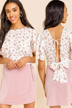 Kelsey Ruffle Floral Tie Blouse | francesca's Jeans And Wedges, Tie Blouse, Ruffle Sleeve, Size Model, Floral Tie, Ruffles, Floral Prints, Cold Shoulder Dress, Francesca's Clothing