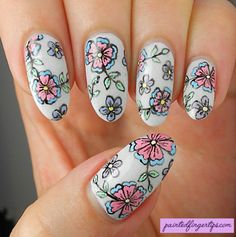 #31DC2016 Day 14: Freehand Flowers - Painted Fingertips nail art design #nails