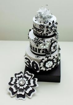 Black and White 30th Birthday Card