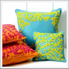 Seaside Inspired - Beach Decor: {the side} Colorful Coral Pillow