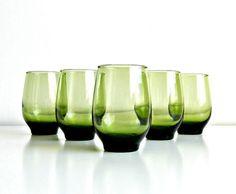 Avocado Green Tumblers. Vintage Libbey Glass Tempo by retrogroovie