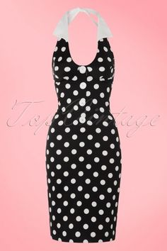 Steady Clothing TopVintage Exclusive ~ 50s Cherry Dollface Polkadot Halter Dress in Black
