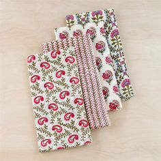 Green & Pink Block Print Napkins, Set of 4, from Cost Plus $8