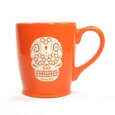 Sugar Skull Mug Orange microwave/dishwasher by BreadandBadger