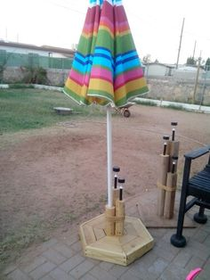 Unbrella stand with soler lighes