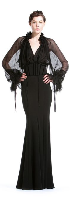 Gorgeous long black dress with sheer sleeves by Zuhair Murad -