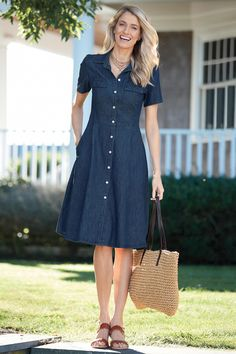 Denim Fit and Flare Shirtdress: Classic Women's Clothing from #ChadwicksofBoston $49.99 - $54.99