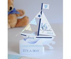 A Unique Personalised  Pop-up Card of a Sailing Boat for a Newborn Baby Boy. - pinned by pin4etsy.com