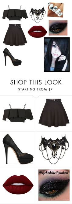 """""""Untitled #97"""" by skullgirlsrocks ❤ liked on Polyvore featuring Topshop, New Look, Charlotte Olympia and Lime Crime"""