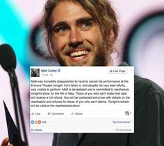 Ex-Australian Idol contestant and indie darling Matt Corby cancelled his much-anticipated Sydney show last night, just 10 minutes before he was due to perform.