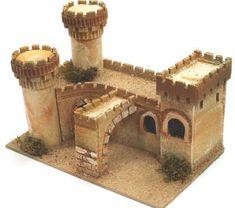 1340-Castillo con luz Toilet Roll Craft, Conan Exiles, Vitrine Miniature, Medieval Castle, Environmental Art, Christmas Home, Diorama, Portal, Miniatures