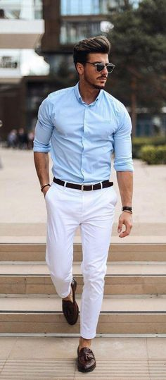 e695d8a09df694 With a summer outfit idea with a white trousers black leather belt  sunglasses light blue button up shirt with rolled up sleeves wrist  accessories brown ...