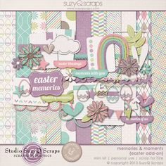 This digital scrapbooking kit is perfect for all your Easter and egg hunting memories! $4.99 see more here: http://shop.scrapbookgraphics.com/Memories-Moments-Easter-Add-on-Digital-Scrapbook-Mini-Kit.html