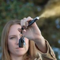 pepper spray keychain and how to use it.