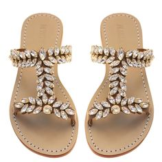 Fashion Slippers, Fashion Shoes, Mystique Sandals, Boho Heels, Leather Sandals Flat, Flat Shoes, Flat Sandals, Bling Sandals, Jeweled Sandals
