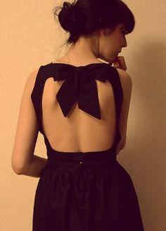 bow-y open back dress
