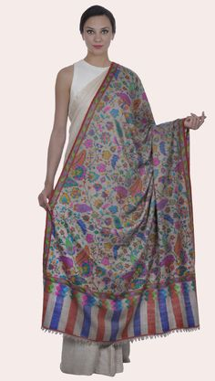 Natural Pure Pashmina Kani Jamawar Weave Shawl Kashmiri Shawls, Embroidery Saree, Bridal Blouse Designs, Indian Heritage, Pashmina Shawl, Paisley Design, Bridal Lehenga, Shawls And Wraps, Indian Dresses