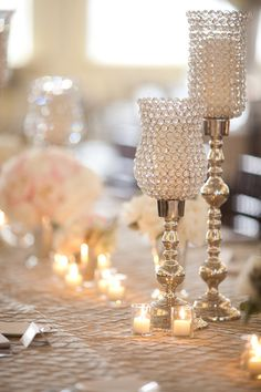 Lots of tea lights & different centerpieces.