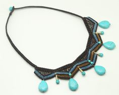 Macrame necklace made of brown blue and golden by LabrinDesign