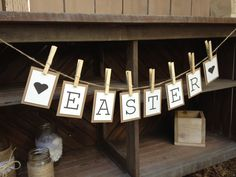 Easter Bunting Banner Garland / Sign for Easter Decoration.   www.etsy.com/shop/LaceTwineAndBurlap