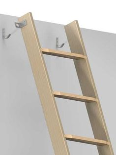 Detachable Single Section Stairs Straight Flight Timber One Piece Loft  Ladder