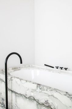 Marble bathroom with black fittings