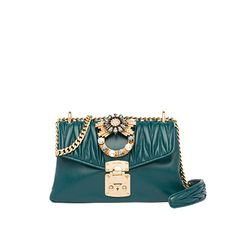 Matelassé and calf leather 121 cm metal chain shoulder strap with leather shoulder pad Flap with push-lock clasp Decorative buckle with crystals Satin lining Inside zipper pocket Leather Shoulder Bag, Leather Bag, Shoulder Bags, Miu Miu Handbags, Dark Teal, Clutches, Bucket Bag, Backpacks, Belt