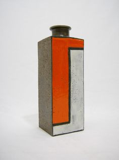 Raymor Vase Italian Bitossi Aldo Londi Orange Art Pottery Mid Century Modern  #Raymor