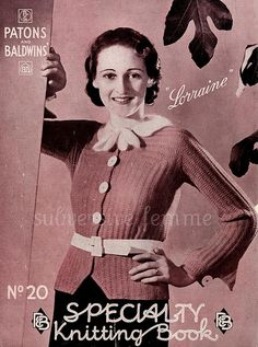 1930's Knitting pattern by bex P&B's Specialty Knitting Book No.20