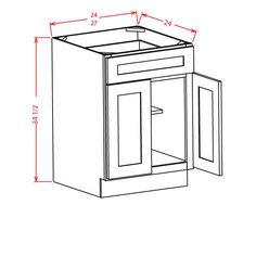 "Charleston Saddle Double Door / Single Drawer Base Cabinet 27""W X 24""D X…"