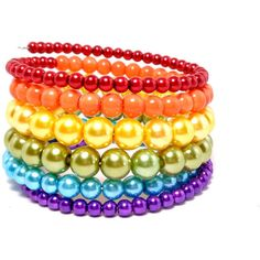 Rainbow Pearl Wrap Bracelet Beaded Memory Wire Cuff, Statement... ($14) ❤ liked on Polyvore featuring jewelry, bracelets, wire wrapped bracelet, cuff jewelry, colorful bangles, pearl jewellery and cuff bangle