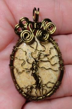 Jasper Tree of Life Wire Wrapped Pendant