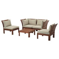 IKEA - ÄPPLARÖ / HÅLLÖ, 4-seat conversation set, outdoor, brown stained/beige, , By combining different seating sections you can create a sofa in a shape and size that perfectly suits your outdoor space.The cushion has a longer life because it can be turned over and used on both sides.The cover is easy to keep clean because it is removable and machine washable.You can make your sofa even more comfortable and add a personal touch by complementing with loose pillows in different sizes and…