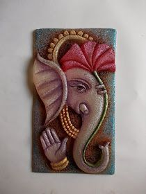 Mural Art by Datta Vaidya Clay Wall Art, Mural Wall Art, Mural Painting, Knife Painting, Ganesha Painting, Ganesha Art, Pottery Painting Designs, Paint Designs, Thermocol Craft