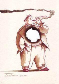 """Smoke"" #stefanotamiazzo #illustration #humor #cartoon"