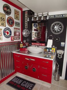 "Vintage auto themed bathroom, Basement bath for my teen boys done in a garage / vintage auto theme, The ""after"" vanity. The pix really do no..."